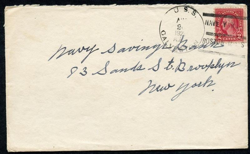 UNITED STATES USS GALVESTON COMMERCIAL COVER 8/26/1923 TO BROOKLYN, NY AS SHOWN