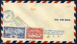 FIRST  FLIGHT COVER SANTO DOMINGO 1/9/29 TO PITTSBURGH VIA MIAMI 1/9/29
