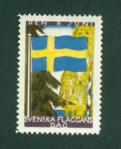 Sweden Poster Stamp Mnh.1936. National Day June 6. Swedish Flag.