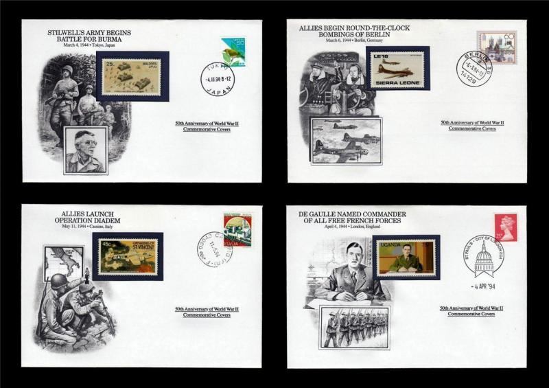 WWII 1944 Danbury 1994 CTO 4 Covers Burma Air Bombings France GB Italy #W90