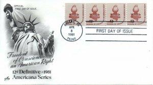 US FDC #1816 Liberty Torch Line Strip, ArtCraft (7215)