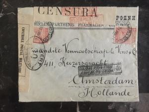 1916 Salonika Greece Dual Censored WWI Cover to Amsterdam Holland