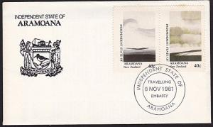 NEW ZEALAND ARAMOANA 1981 cover - 40c view Travelling Embassy pmk...........9624