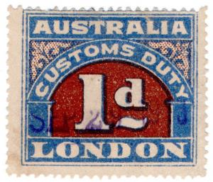 (I.B) Australia Revenue : Customs Duty 1d (small format)