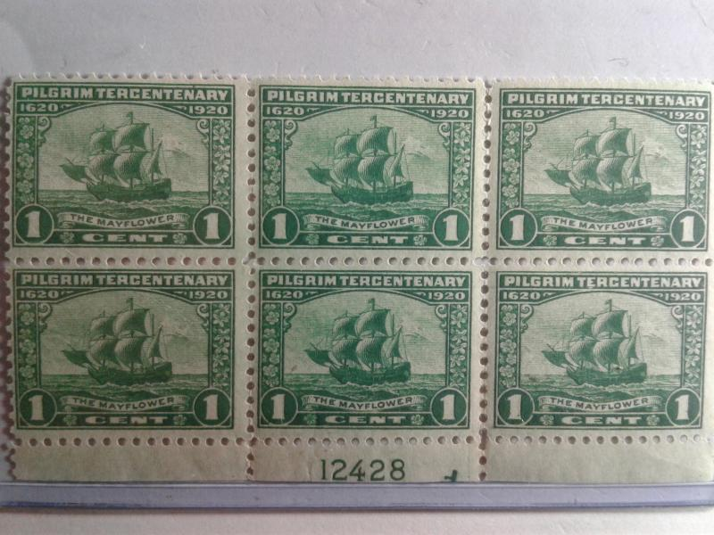 SCOTT # 548 PLATE BLOCK OF 6 VERY DESIRABLE MINT HR ON BACK OF ON SELVAGE
