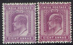 INDIA 1902 KEVII 8A BOTH SHADES