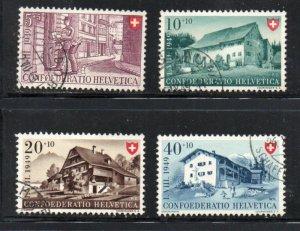 Switzerland Sc B183-86 1949 Buildings stamp set used