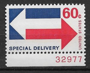 1971 USA E23 Special Delivery 60¢ Arrows MNH plate # single