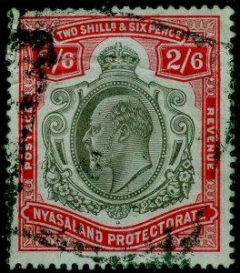 NYASALAND PROTECTORATE SG78, 2s 6d brwnish black&carmine-red/bl, USED. Cat £110.