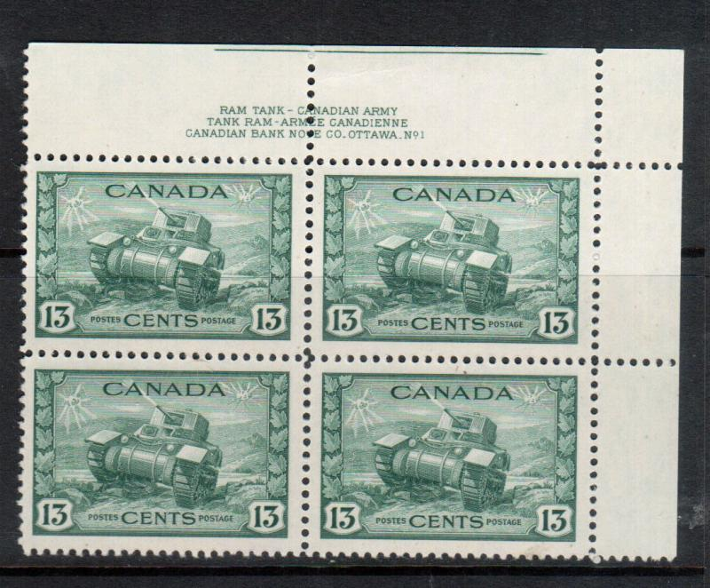 Canada #258 Very Fine Never Hinged Plate #1 UR Block