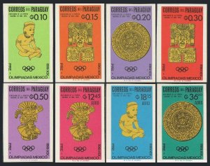 Paraguay 927-934,934a imperf,MNH.Michel 1543-1550,Bl.82. Olympics Mexico-1968.