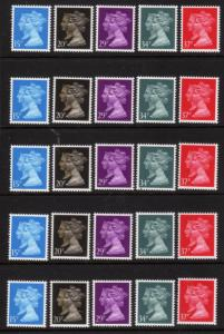 Great Britain 5 each 190, 93,96-98 1990 Machin MNH (S-21) $13.00