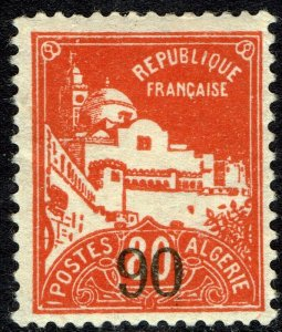 Algeria #72  MNH - 90c on 80c Surcharged La Pecherie Mosque (1927)