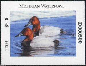 MICHIGAN #34 2009 STATE DUCK STAMP CANVASBACKS  by Lorna Poulos