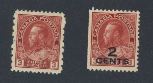 2x Canada Mint WWI Admiral Stamp #140-2c/3c MNG F/VF 184-3c 12x8 VF GV=$42.00