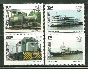 Zaire MNH 1216-9 National Transportation Authority Ships & Trains