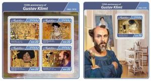 Z08 IMPERF MLD17402ab MALDIVES 2017 Gustav Klimt MNH ** Postfrisch Set