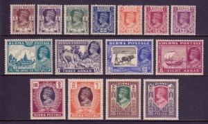 BURMA (MYANMAR) — SCOTT 51-65 — 1946 KGVI SET — MH — SCV $62