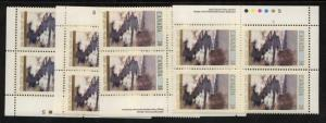 Canada USC #1256 Mint VF-NH MS of Imprint Blocks 1989 38c Christmas- Cat. $16.