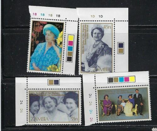 Zambia 327-30 NH 1985 Queen Mother Birthday