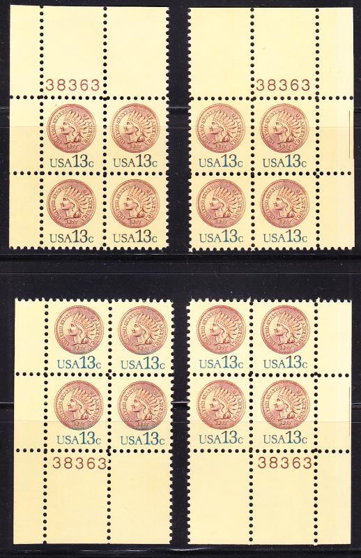 U.S. 13c Indian Head Penny Matching (4) set Plate Number Blocks of 4 VF/NH