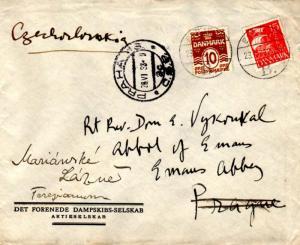 Denmark 10o Numeral and 15o Caravel 1933 Esbjerg, B. to Prague, Czechoslovaki...