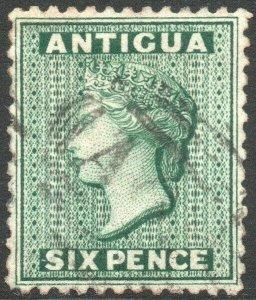 ANTIGUA-1872 6d Blue-Green watermark reversed Sg 15x FINE USED V45597