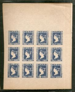 India ½An Blue QV Lithograph sheet of 12 stamps Facsimile print for Reference A