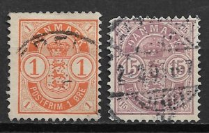 1902 Denmark 53-4 Arms C/S of 2 used