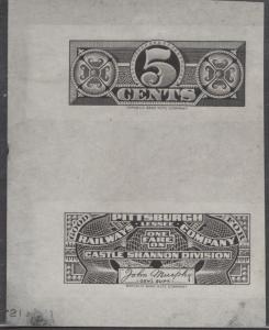 PITTSBURGH RAILWAYS Co. 5¢ BLK PROOF CASTLE SHANNON DIV; ABNCo. DIE ESSAY BN6764