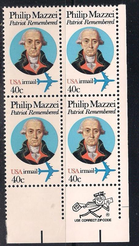 US Zip Blk Sc# C98 Philip Mazzei, Patriot MNH LR