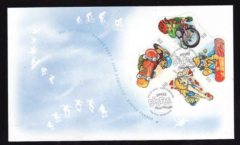 Canada-Sc#2121-stamps on FDC-Youth Sports-2005