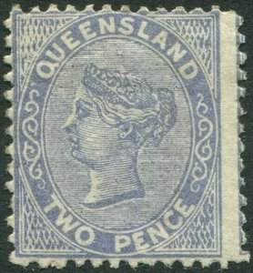 QUEENSLAND-1879 2d Blue.  A lightly mounted mint example Sg 137