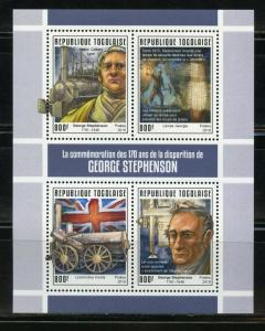 TOGO 2019 170th MEMORIAL OF GEORGE STEPHENSON SHEET  MINT NH