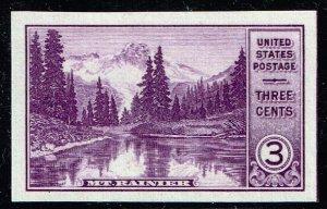 US STAMP #758 – 1935 3c National Parks: Mt. Rainier, imperf, MNH SUPERB