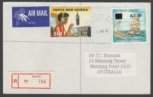 PAPUA NEW GUINEA 1997 Registered cover RELIEF 5 used MENDI date change......L881