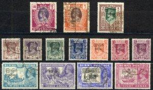 Burma Sc# 70-83 Used overprint 1947 King George VI