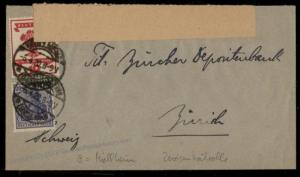 Germany 1920 Officially Opened Mullheim 9 Censor Tape Inflation Cover Zuri 72650