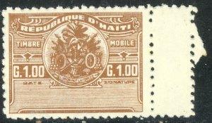 HAITI c1950 1g Brown General Duty Revenue Stamp MNH