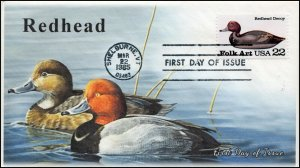 AO-2141, 1985, Duck Decoys, Redhead, Add-on Cachet, First Day Cover, SC 2141