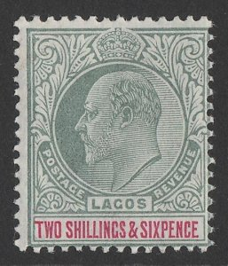 LAGOS 1904 KEVII 2/6 green & carmine, wmk Mult crown.
