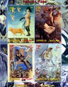 Somalia 2003 FELICIEN ROPS Nudes Artist Sheet (4) Perforated Mint (NH)