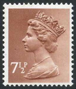 U158a 1971 7 1/2p pale chestnut with variety phosphor omitted cat pounds 20