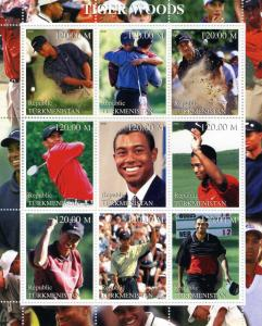 Turkmenistan 2000 Golf Tiger Woods Sheet Perforated mnh.vf