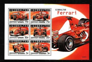 Gibraltar MNH S/S 998a Ferrari Race Cars 2004