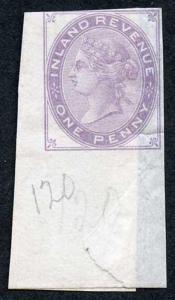 1d Lilac Postal Fiscal SGF20-22 Imprimatur Plate 120