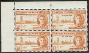 CAYMAN ISLANDS 1946 KGVI VICTORY 3D VARIETY STOP AFTER 1946 MNH ** BLOCK