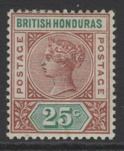 BRITISH HONDURAS SG61 1898 25c RED-BROWN & GREEN MTD MINT