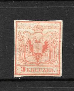 AUSTRIA  1850  3kr  RED   MH   Sc 3