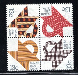 1478a MNH Folk Quilts block 4, mis perfed - see scan